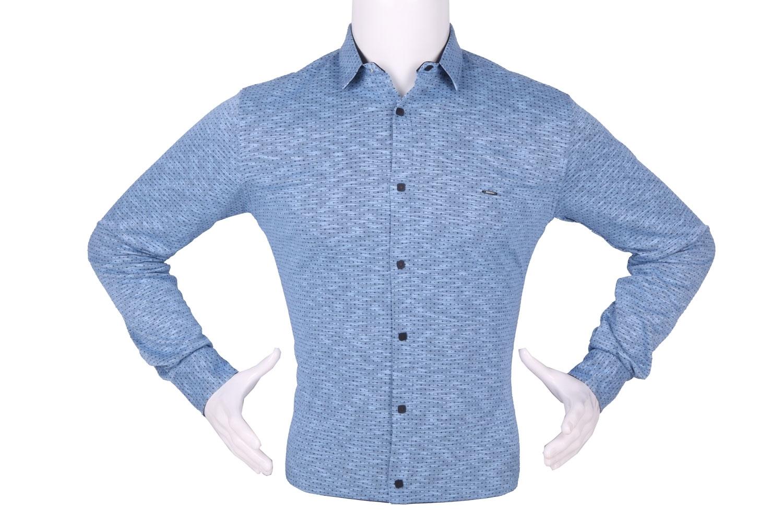 Стильная мужская рубашка в мелкий рисунок, длинный рукав (Арт. T 4263)