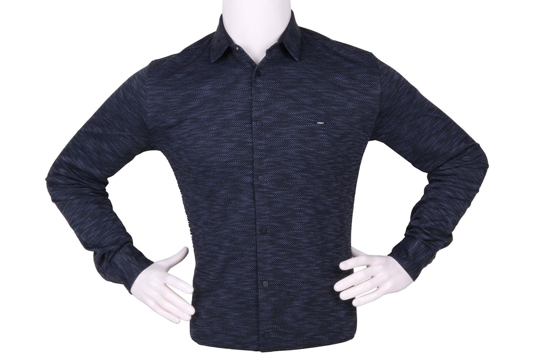 Стильная мужская однотонная рубашка, длинный рукав (Арт. T 4265)