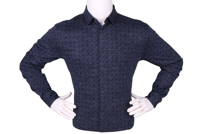 Стильная мужская рубашка в мелкий рисунок, длинный рукав (Арт. T 4268)