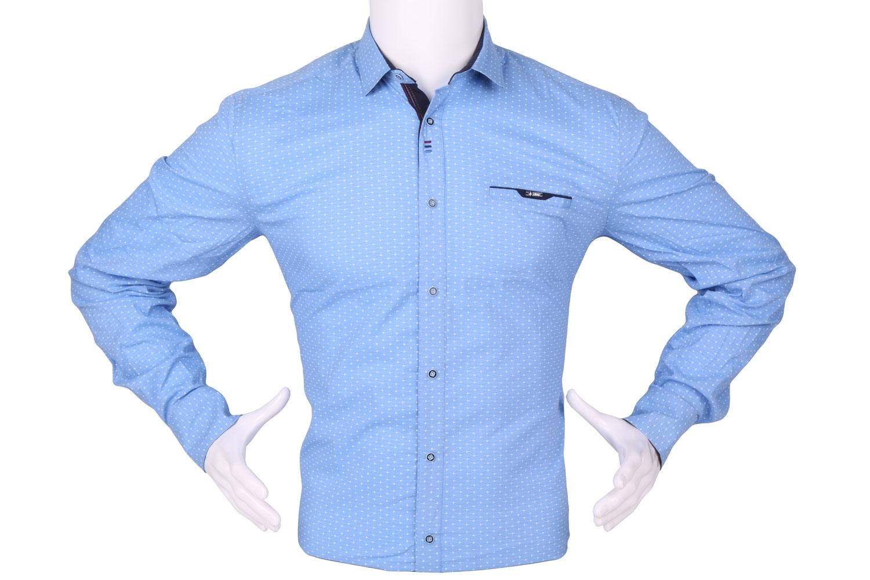 Стильная мужская рубашка в мелкий рисунок, длинный рукав (Арт. T 4282)