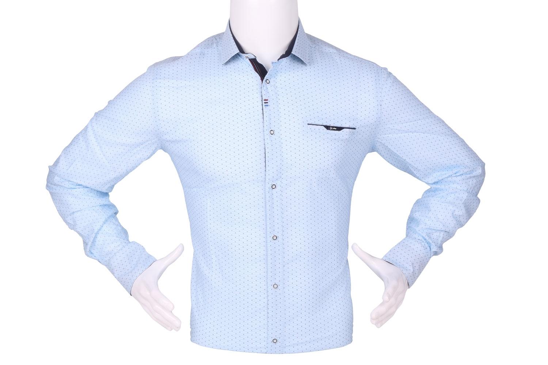 Стильная мужская рубашка в мелкий рисунок, длинный рукав (Арт. T 4283)