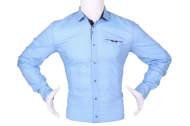 Стильная мужская рубашка в мелкий рисунок, длинный рукав (Арт. T 4284)