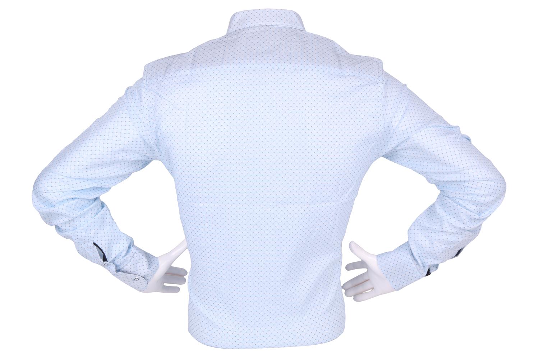 Стильная мужская рубашка в мелкий узор, длинный рукав (Арт. T 4299)