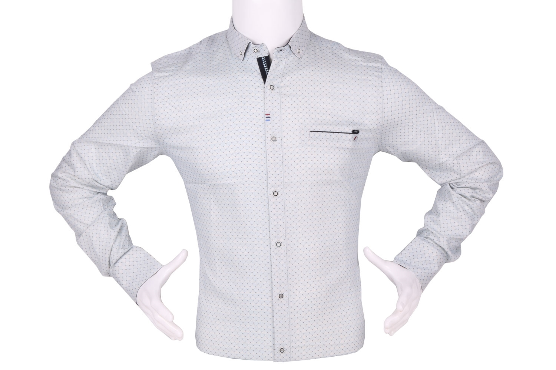 Стильная мужская рубашка в мелкий узор, длинный рукав (Арт. T 4301)