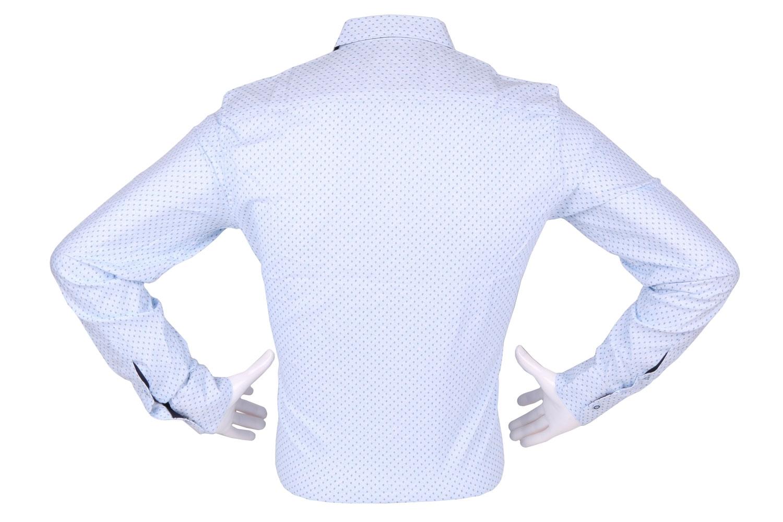 Стильная мужская рубашка в мелкий узор, длинный рукав (Арт. T 4303)
