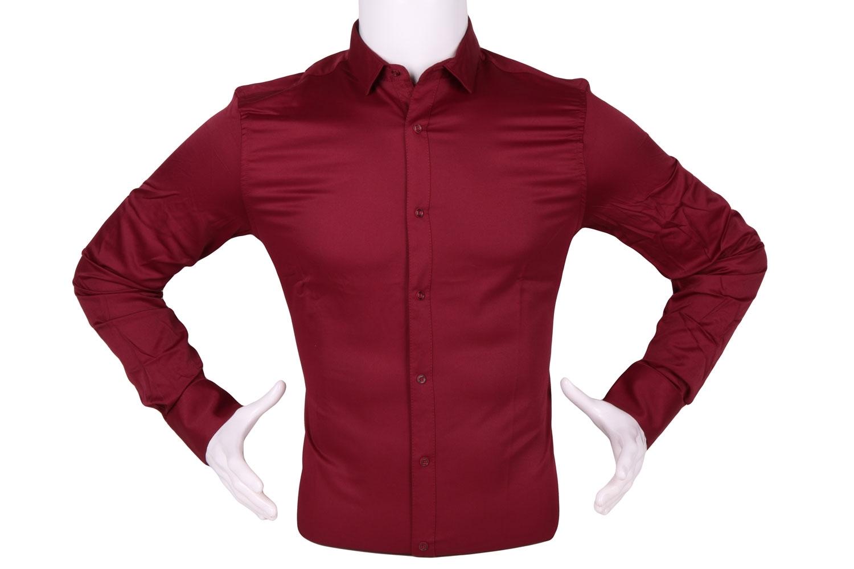 Стильная однотонная мужская рубашка, длинный рукав (Арт. T 4307)