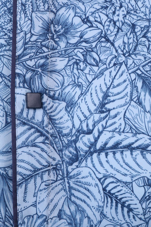 Стильная мужская рубашка в мелкий узор c окантовкой по краю планки, длинный рукав (Арт. T 4318)