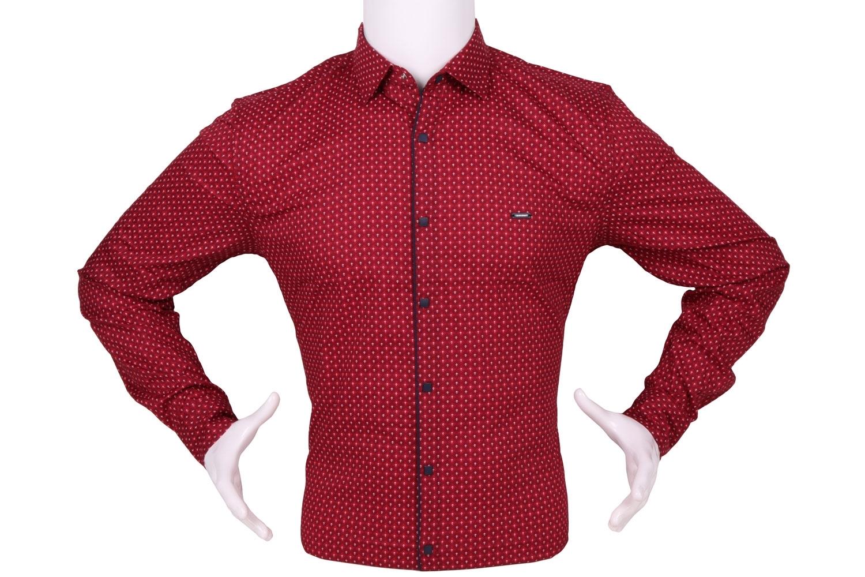 Стильная мужская рубашка в мелкий узор c окантовкой по краю планки, длинный рукав (Арт. T 4321)