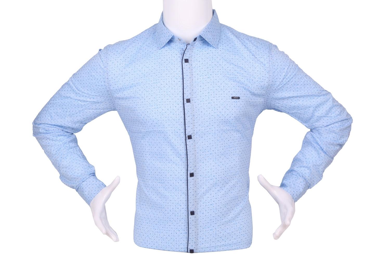 Стильная мужская рубашка в мелкий узор c окантовкой по краю планки, длинный рукав (Арт. T 4322)