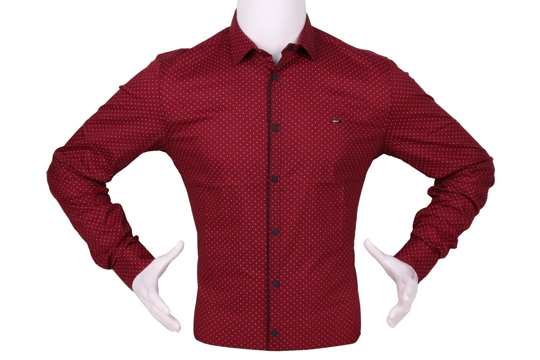 Стильная мужская рубашка в мелкий узор c окантовкой по краю планки, длинный рукав (Арт. T 4327)