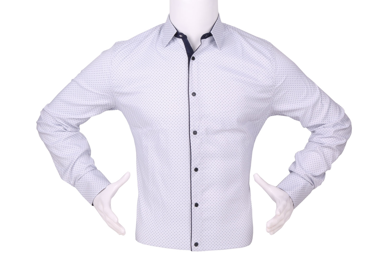 Стильная мужская рубашка в мелкий узор c окантовкой по краю планки, длинный рукав (Арт. T 4331)