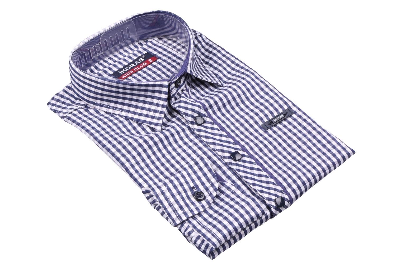 Детская рубашка в клетку с окантовкой по планке, длинный рукав (Арт. TB 4333)