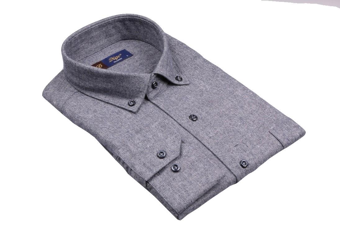 Классическая мужская рубашка в мелкий узор, длинный рукав (Арт. T 4091)