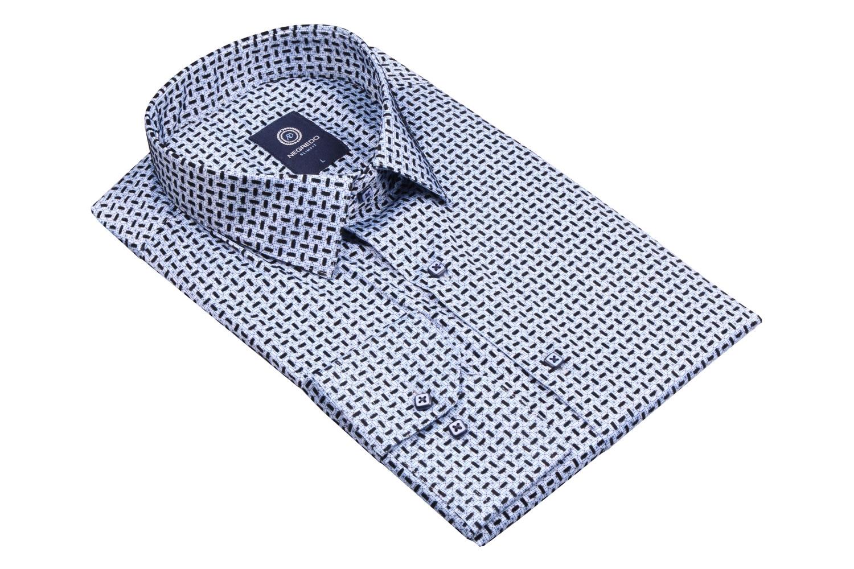 Стильная мужская рубашка в мелкий рисунок, длинный рукав (Арт. T 4094)