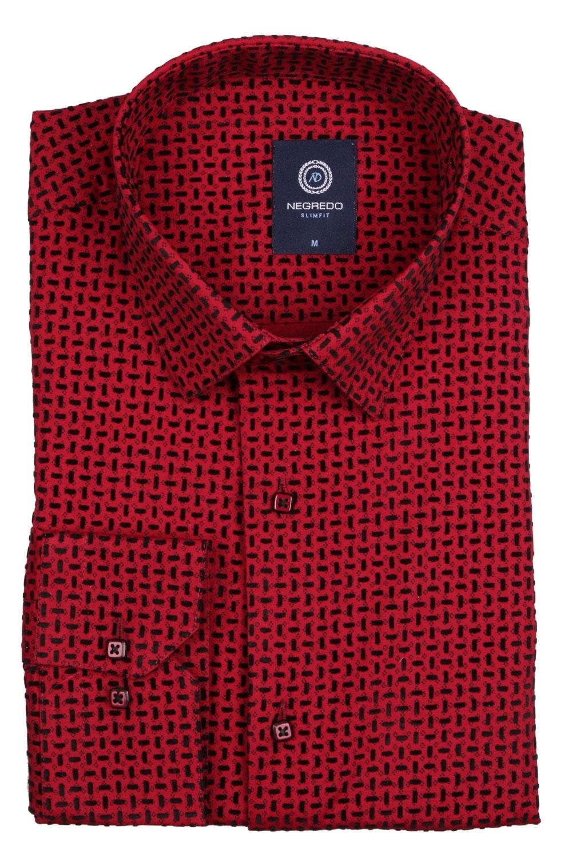 Стильная мужская рубашка в мелкий рисунок, длинный рукав (Арт. T 4095)