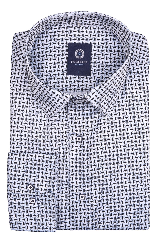 Стильная мужская рубашка в мелкий рисунок, длинный рукав (Арт. T 4096)