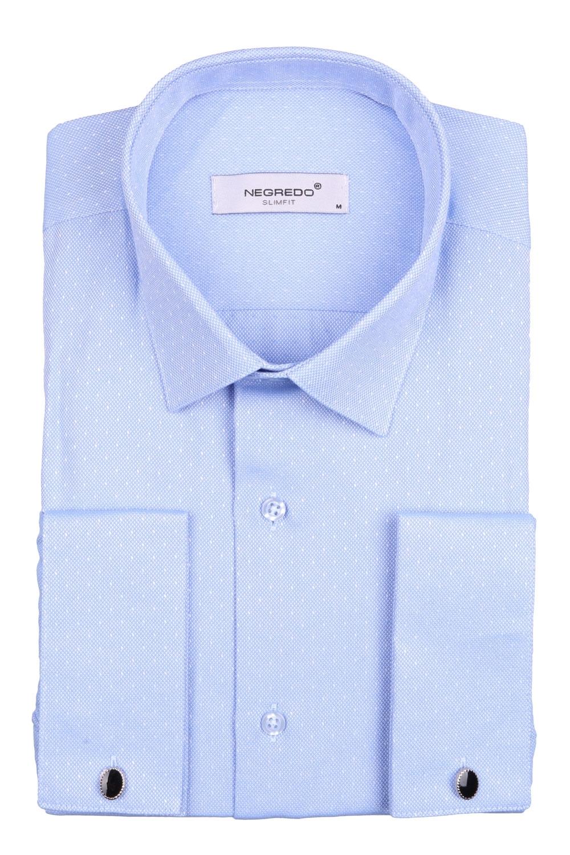 Мужская однотонная рубашка в мелкий рисунок, длинный рукав (Арт. T 4101)
