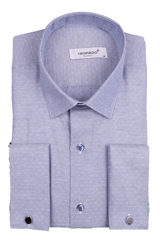Мужская однотонная рубашка в мелкий рисунок, длинный рукав (Арт. T 4102)