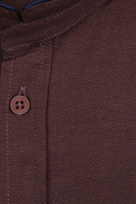 Стильная однотонная мужская рубашка с воротником стойка, длинный рукав (Арт. T 4111)