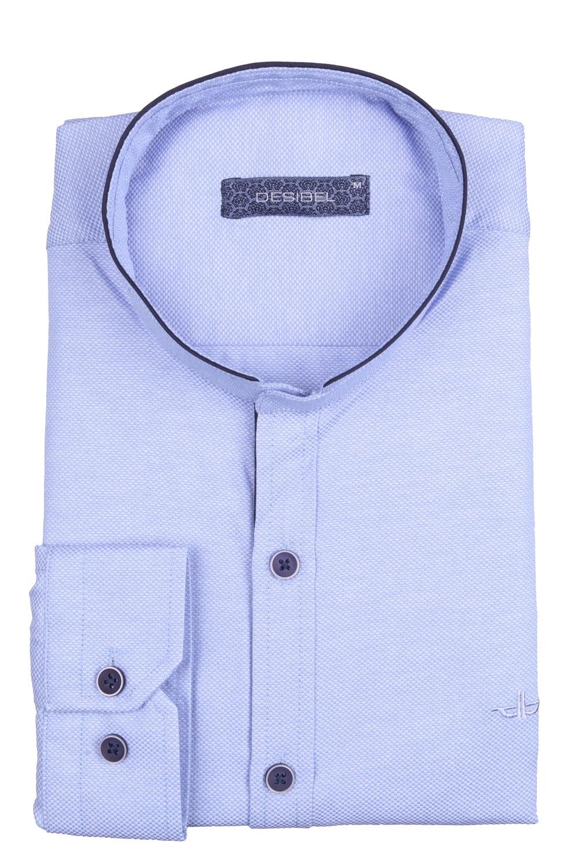 Стильная однотонная мужская рубашка с воротником стойка, длинный рукав (Арт. T 4114)