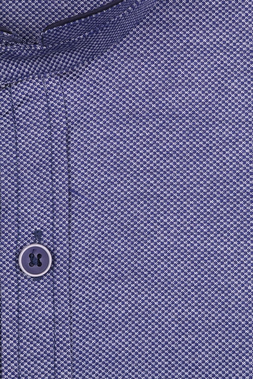 Стильная однотонная мужская рубашка с воротником стойка, длинный рукав (Арт. T 4115)