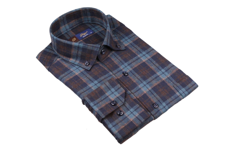 Мужская классическая рубашка в клетку, длинный рукав (Арт. T 4361)