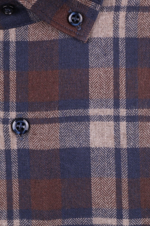 Мужская классическая рубашка в клетку, длинный рукав (Арт. T 4363)