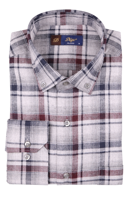 Мужская классическая рубашка в клетку, длинный рукав (Арт. T 4364)