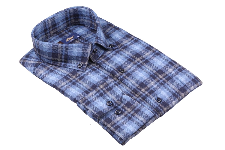 Мужская классическая рубашка в клетку, длинный рукав (Арт. T 4367)