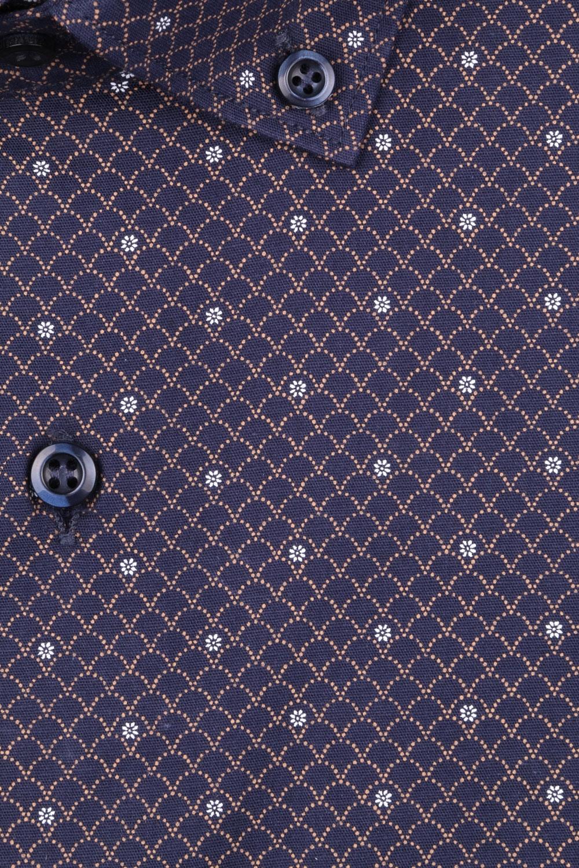 Стильная мужская рубашка в мелкий рисунок, длинный рукав (Арт. T 4376)
