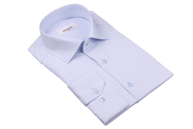 Стильная мужская рубашка в мелкий рисунок, длинный рукав (Арт. T 4378)