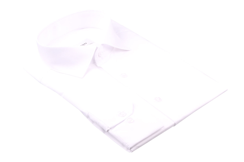 Однотонная мужская рубашка белого цвета, длинный рукав (Арт. T 4384)