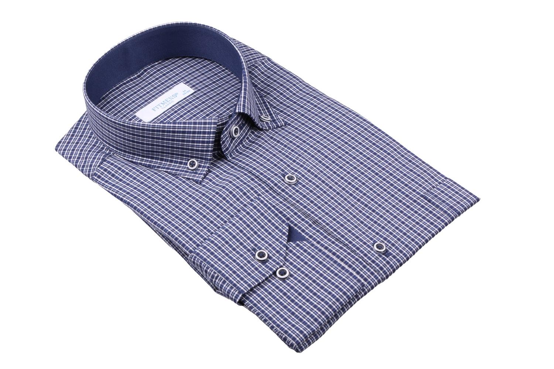 Рубашка мужская классика в мелкую клетку, длинный рукав (Арт. T 4421)