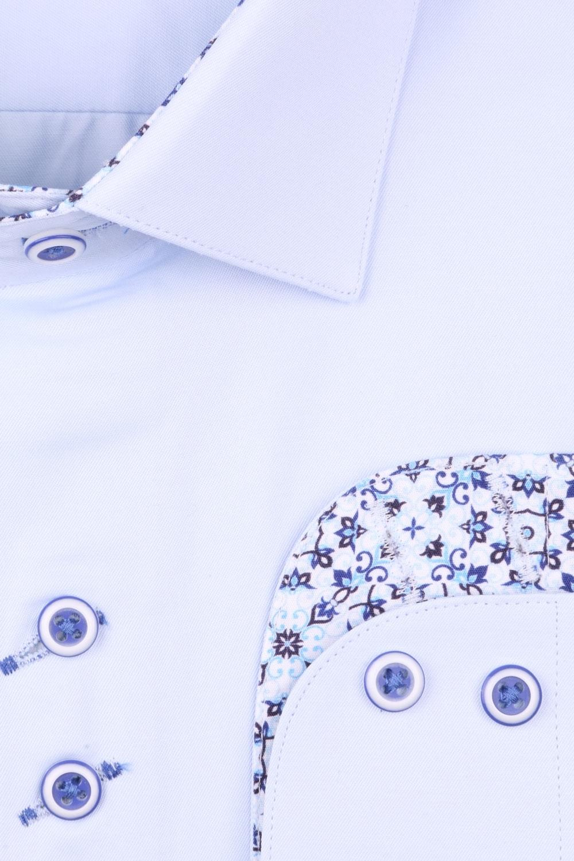 Рубашка мужская приталенная цвет голубой, длинный рукав (Арт. T 4429)