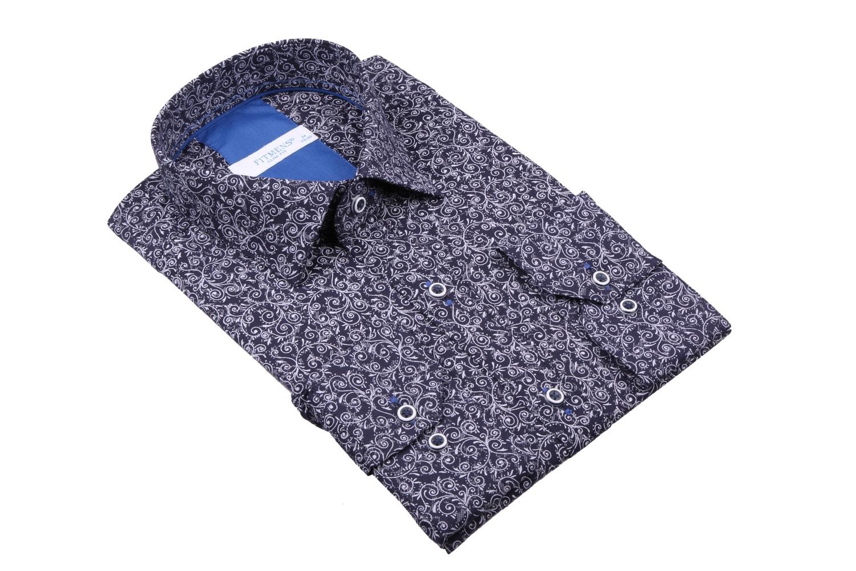Рубашка мужская приталенная в рисунок, длинный рукав (Арт. T 4433)