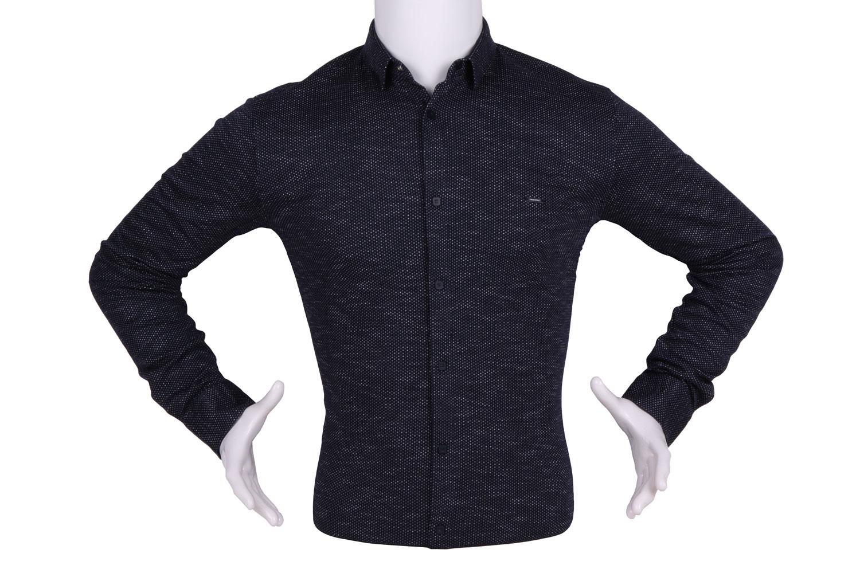 Рубашка мужская приталенная кашемир цвет черный-серый, длинный рукав (Арт. T 4444)