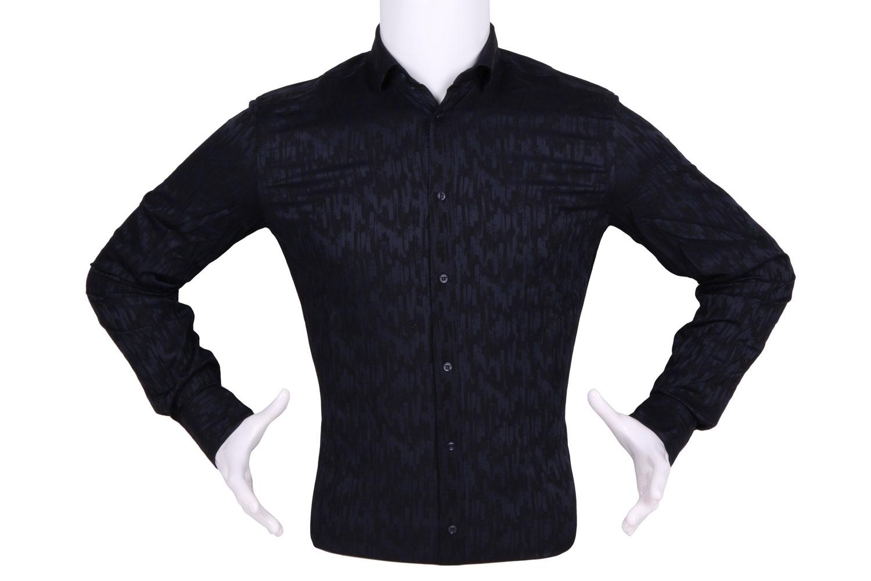 Рубашка мужская приталенная в рисунок, длинный рукав (Арт. T 4459)