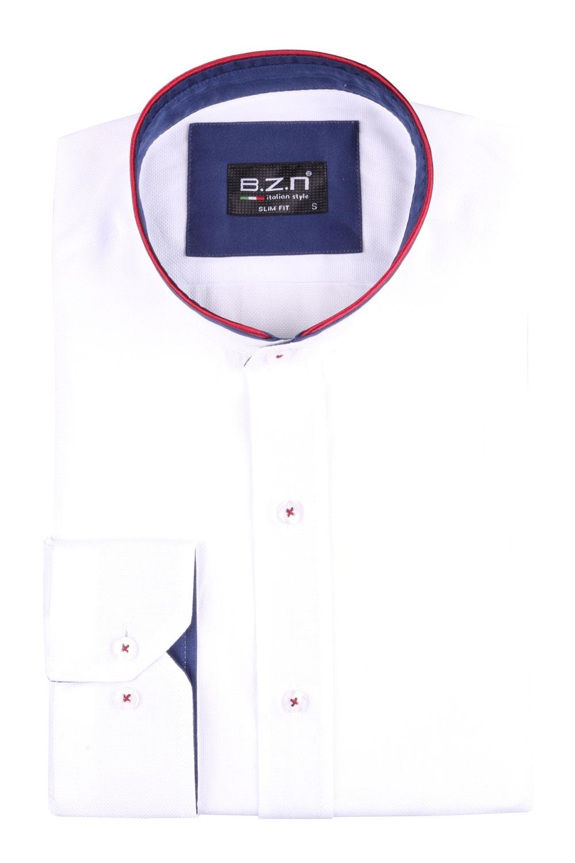 Рубашка мужская приталенная с воротником стойка, длинный рукав (Арт. T 4517)