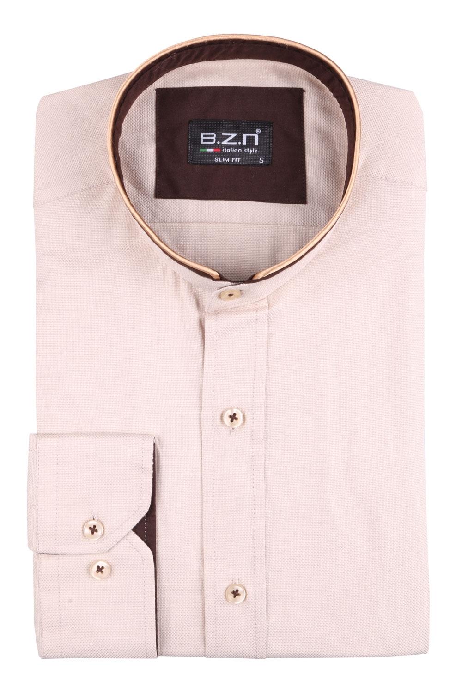 Рубашка мужская приталенная с воротником стойка, длинный рукав (Арт. T 4518)