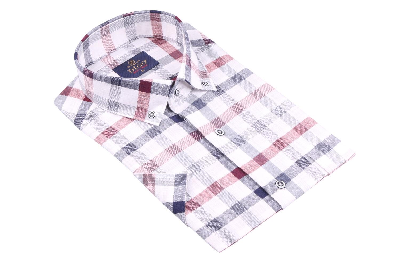 Рубашка мужская классика в клетку, короткий рукав (Арт. T 4538К)