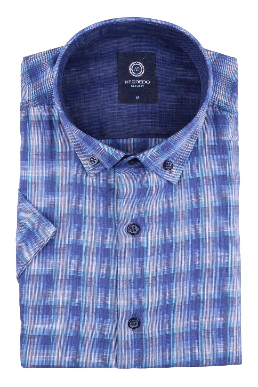 Рубашка мужская приталенная в клетку, короткий рукав (Арт. T 4554К)