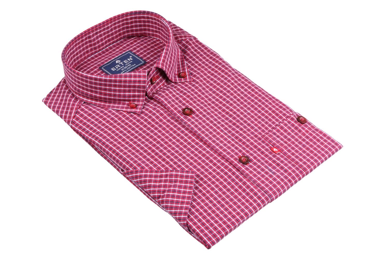 Рубашка мужская классика в клетку, короткий рукав (Арт. T 4573К)