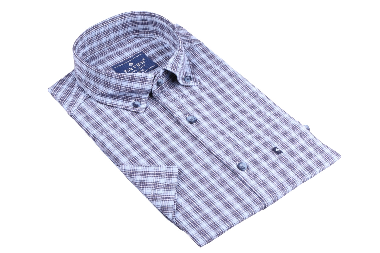 Рубашка мужская классика в клетку, короткий рукав (Арт. T 4580К)