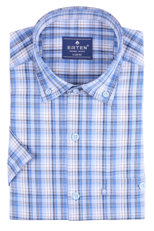 Рубашка мужская классика в клетку, короткий рукав (Арт. T 4585К)