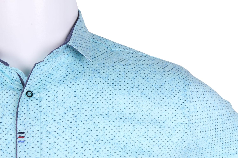 Рубашка мужская приталенная в мелкий рисунок, короткий рукав (Арт. T 4604К)