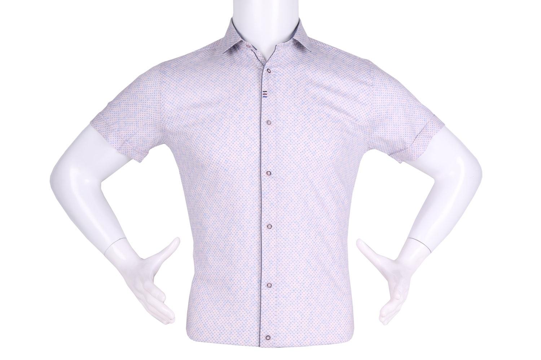 Рубашка мужская приталенная в мелкий рисунок, короткий рукав (Арт. T 4606К)