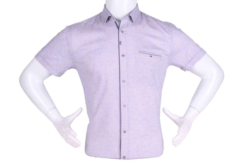 Рубашка мужская приталенная в мелкий рисунок, короткий рукав (Арт. T 4620К)