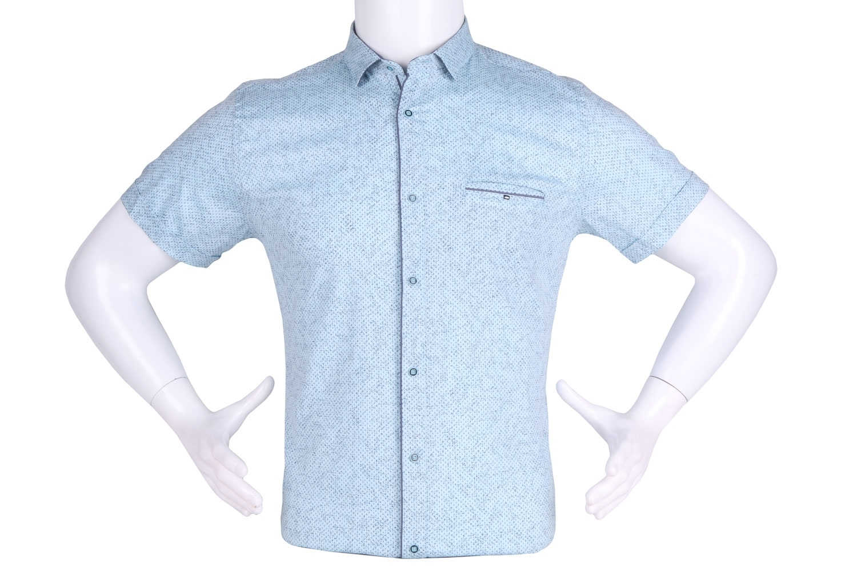 Рубашка мужская приталенная в мелкий рисунок, короткий рукав (Арт. T 4632К)