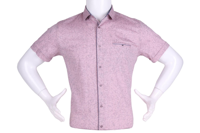 Рубашка мужская приталенная в мелкий рисунок, короткий рукав (Арт. T 4633К)