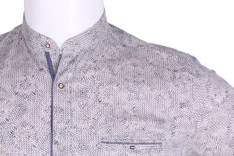 Рубашка мужская приталенная, воротник стойка, в мелкий рисунок, короткий рукав (Арт. T 4638К)